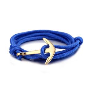 Kék paracord horgony medálos férfi karkötő