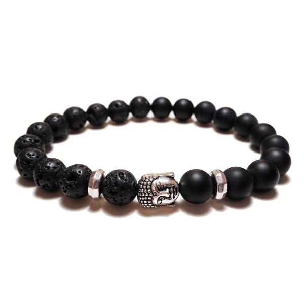 Lávakő és matt fekete achát – Buddha feles karkötő